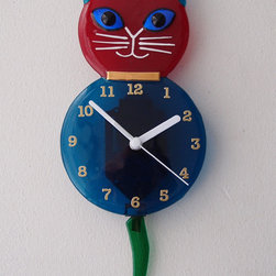 Cat Clock with Pendulum Tail by Admiral Glass - Based on the vintage cat clock, this blown-glass clock would look super cute on a child's bedroom wall.