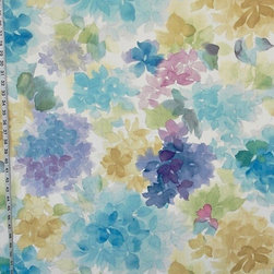 "Watercolor Fabric Floral Blue Turquoise Aqua, Standard Cut - A watercolor fabric. A watercolor fabric in shades of blue. Once in a while a pattern comes in and we all stand back and say ""Wow""! This is one of those patterns! It is absolutely glorious. The photographs do not do it justice."