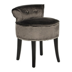 Safavieh - Safavieh Georgia Vanity Stool X-H6454RCM - The adorable Georgia vanity chair is petite enough to tuck in a bathroom or bedroom, and brimming with feminine style.  Graceful birch wood legs with black ebony, deep seat and diminutive button tufted back are designed for indulgent comfort.  Upholstered