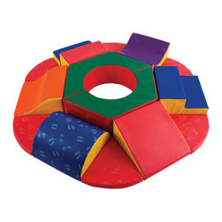 Ecr4kids - Ecr4Kids Softzone School Kids And Shape Primary Roundabout Climber Soft Play Blo - Roundabout SoftZone set encourages kids to safely climb, crawl and balance in a soft, stable environment. The 15 foam bolsters encourage hours of endless play. Soft, sturdy, polyurethane foam is covered in reinforced, phthalate-free vinyl to create a comfy and stimulating learning environment. Encourages social interaction, color recognition, and gross motor skills.