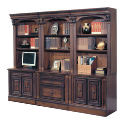 Parker House - Parker House Huntington 6-Piece Open Bookcase Office Wall in Vintage Pecan - Parker House Furniture is a family owned company offering high quality home office and home entertainment furniture since 1946. They are committed to offering 100% customer satisfaction and make customer service a number one priority. Parker House Furniture manufactures luxurious collections in a variety of rich finishes that are accented with classy details. Wide range of entertainment centers, home office furniture, library walls, and a great selection of media centers are just some of the items they provide to make you home beautiful and unique.