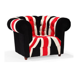 Zuo Modern - Zuo Modern Union Jack Modern Armchair X-262009 - Stay patriotic with our Union Jack series. Made from a plush microfiber and tufted for a classic look. Comes in an armchair, loveseat, sofa and ottoman.