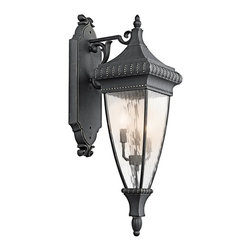 KICHLER - KICHLER Venetian Rain Traditional 3-Light Outdoor Wall Sconce X-GKB23194 - This Kichler Lighting outdoor wall sconce from the Venetian Rain Collection comes in a traditional Black finish with Gold Accenting. The vertical rain glass draws attention to the fixture, while the beadwork and subtle scrolling complete the look.
