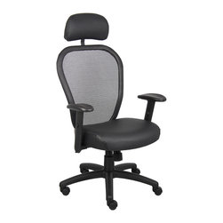 """Boss Chairs - Boss Chairs Boss Professional Managers Mesh Chair with Headrest and Leather Seat - Thick padded contoured seat and air mesh back with built-in lumbar support. 2 to 1 synchro tilt mechanism with adjustable tilt tension control. Leather plus seat with ample padding. Adjustable height armrests with soft polyurethane pads. Seat tilt lock allows the seat to lock in the upright position. Padded back frame. Pneumatic gas list seat height adjustment. Large 27"""" nylon base for greater stability. Hooded double wheel casters. With optional head rest."""