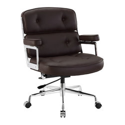 Modway - Modway EEI-276 Remix Office Chair in Brown - Jam to a different beat with the Remix office chair. Lavishly upholstered in padded vinyl, the chair is striking both in presentation and comfort. Perhaps most noticeable of all are the generously padded armrests.  Most competing chairs make do with a thin semblance of softness--not so with Remix. The chair beckons you to sit and enjoy your time there thoroughly. The frame is constructed of high-polished aluminum and is fitted with a hooded base with five dual-wheel casters. Fully height adjustable with 360 degree swivel, this high back chair also works well for most heights and builds.