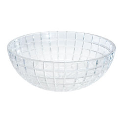 Maestrobath - De Medici Luxor Crystal Round Modern Sink - Luxury and beauty formed by pure crystal with 24% lead content; Luxor is blown by mouth and beveled in stone by our master artists into the shape of a circular or oval bowl. No machine or modern technology has been used in the creation of this exquisite wash basin. Luxor is the product of the collective knowledge of crystal making acquired through years of ancient and noble glass arts. The cut glass creates a rectangular grid pattern on the outside and it is polished by hand on the inside for a smooth and hygienic surface. This beautiful vessel sink brings luxury to any bathroom.