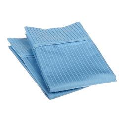 1000 TC Egyptian Cotton King Medium Blue Stripe Pillowcase Set - 1000 Thread Count Egyptian Cotton oversized King Medium Blue Stripe Pillowcase Set