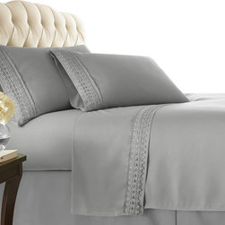 Southshore Fine Linens, Inc. - Aspen Lace - Sheet Sets - 4 PC, Steel Gray, King - Made with high strength microfiber yarns these shrinkage-free sheets are decorated with a beautiful lace. Double brushed for extra softness, these sheets feature a 110 GSM microfiber fabric to ensure a cozy feeling.