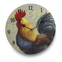 Round Colorful Rooster Wall Clock 13 in. - This charming and colorful rooster clock is a simple design that will enhance the appearance of your country kitchen! With its large, pressed wood construction and 13 inch (33 cm) diameter face, you'll always know what time it is. The quartz movement uses one AA battery (not included). This clock would make a great gift for any rooster collectors in your life!
