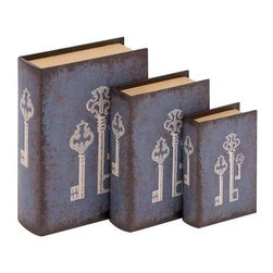 BZBZ91814 - Antique Key Themed Wooden Vinyl Book Sets - Antique key themed wooden vinyl book sets. Let this Set of three antique key themed wooden book sets. These book sets look stunning and unique. Some assembly may be required.