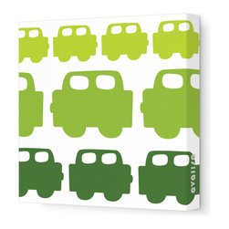 "Avalisa - Things That Go - Car Stretched Wall Art, 12"" x 12"", Green Hue - Plain walls driving you crazy? Get on the road to colorful style with this whimsical wall art. Perfect for a kid's room, blocky cars are lined up freeway-style in your choice of colors and sizes. They're printed on stretched white fabric and hang in a snap so you can do your thing and go, go, go."