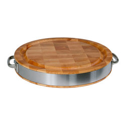 John Boos - John Boos Round Chopping Block - Steel Band & Handles - John Boos maple end-grain butcher block cutting board 2.5 in. thick. Stainless steel wraparound band and handles. Reversible. Juice groove on one side..