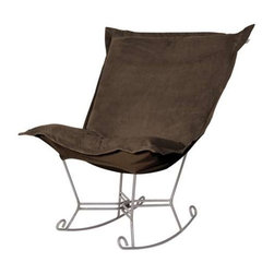 """Howard Elliott Bella Chocolate Puff Scroll Rocker - Titanium Frame - If you have ever sat in our Puff Chair, you would ask yourself, """"What could possibly make this chair more comfortable?"""" Well the Puff Chair in our Bella Fabric is the answer. This super lush fabric in rich vivid colors will make the Puff Chair THE most comfortable and soft chair you have ever sat in!"""
