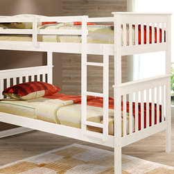 Donco Kids - White Mission Bunk Bed - This sturdy bunk bed boasts a gorgeous wooden construction and chic finish that lend to its timeless design. It features space for two twin mattresses and includes safety guardrails and a ladder for easy access.   Mattresses and bedding not included Weight capacity : 160 lbs. 78.5'' W x 62'' H x 42'' D Pine / non-toxic paint Assembly required Recommended for ages 6 years and up Imported