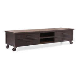 Industrial Low Entertainment Center - This modern Industrial Low plasma stand is made from elm wood encased in an antiqued metal finish. The stand has 4 fully functional wheels for functionality and look.