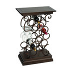 ecWorld - Casa Cortes Designer 13-Bottle Aluminum Wine Holder Rack & Wooden Accent Table - A gorgeous addition to your home decor this dual-purpose wine bottle holder with glass rack and accent table is a great piece to add style and character to any room. Holds 13 wine bottles, a gorgeous swirl designer ideal to store and display your finest wine selection.