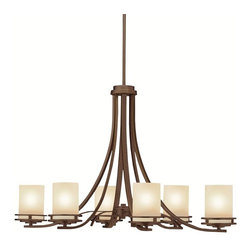 """KICHLER - KICHLER 1673OZ Hendrik Transitional Chandelier - Named after renowned Dutch architect, Hendrik Berlage, the Hendrik Collection is a gorgeous family of contemporary fixtures that honor the man who was regarded by many as the """"Father of Modern architecture"""". Much like Berlage himself, The Hendrik Collection is regarded as an intermediary between modern and traditional styles. Classic lines are enhanced with a soft touch of current style cues to work in a number of aesthetic environments. The warm hue of our Olde Bronze finish is partnered with light umber etched glass for a fantastic balance of natural color."""