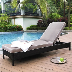 Crosley Furniture - Catalina Outdoor Wicker Chaise Lounge - Six Position Adjustable Chaise Lounge. UV Resistant Outdoor Resin Wicker. Durable Steel Frame. UV/Fade Resistant Cushions. Moisture Resistant Cushions. High Grade Cushion Cores. Durable Solution Dyed Fabric Cushion. Assembly Required. 24 in. L X 76 in. W X 32.7 in. H (33.5 lbs.)Enjoy the outdoors with our elegantly designedCatalina all-weather outdoor resin wicker lounge chair.  The adjustable back allows you to sit up and enjoy a book or lie down and soak up the rays.  Intricately woven wicker over durable steel frames and UV/Fade resistant cushions provide both comfot and style.