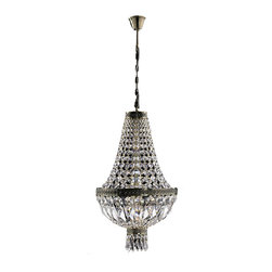 Worldwide Lighting - Metropolitan 1 light Antique Bronze Finish with Clear Crystal Chandelier - This stunning 1-light crystal chandelier only uses the best quality material and workmanship ensuring a beautiful heirloom quality piece. Featuring a radiant antique bronze finish and finely cut premium grade crystals with a lead content of 30%, this elegant chandelier will give any room sparkle and glamour. Worldwide Lighting Corporation is a premier designer manufacturer and direct importer of fine quality chandeliers, surface mounts, and sconces for your home at a reasonable price. You will find unmatched quality and artistry in every luminaire we manufacture.