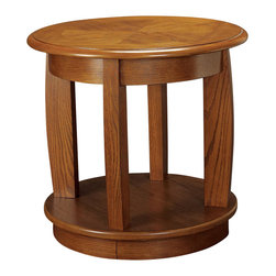 "Hammary - Ascend Round End Table in Medium Oak Finish - ""Hammary's stirring new """"Ascend"""" collection harkens back to a simpler and better time, when furniture designers took pride in their work and labored to give customers pieces that would stand the test of time."