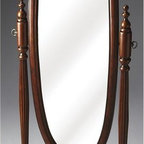 Butler - Plantation Cherry Cheval Mirror - Oval shape. Decorative. Swivel-tilt design. Easily set to a desired angle by adjusting the antique brass finished thumb screws on either side. Adds an often-overlooked decorative touch to a room. Carved supports with a matching double stretcher base. Ideal addition to the bedroom, living room, dining room or dressing area. Made from select solid woods. Plantation cherry finish. 20 in. W x 14.5 in. D x 60 in. H (38 lbs.)Plantation Cherry represents tribute to tradition... to the classics of Western culture... from the timeless 18th century designs of Chippendale, Sheraton and Hepplewhite, to the best furniture in the finest homes when Americans declared their independence.