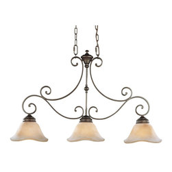 Murray Feiss - Murray Feiss Tuscan Villa Linear Chandelier in Corthian Bronze - Shown in picture: Tuscan Villa Chandelier in Corinthian Bronze finish with Beige Etruscan Glass