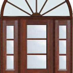 "Prehung French Single Door 96 Wood Mahogany Full Lite 12 Lite - SKU#    MCR06-SDL3_DF34D31-2HRDBrand    GlassCraftDoor Type    FrenchManufacturer Collection    3 Lite French DoorsDoor Model    3 LiteDoor Material    FiberglassWoodgrain    Veneer    Price    4985Door Size Options    32"" + 2( 14"")[5'-0""]  $036"" + 2( 14"")[5'-4""]  $036"" + 2( 12"")[5'-0""]  $0Core Type    Door Style    Door Lite Style    3/4 Lite , 3 LiteDoor Panel Style    1 PanelHome Style Matching    Door Construction    TDLPrehanging Options    PrehungPrehung Configuration    Door with Two Sidelites and  Half Round TransomDoor Thickness (Inches)    1.75Glass Thickness (Inches)    Glass Type    Double GlazedGlass Caming    Glass Features    Tempered glassGlass Style    Glass Texture    ClearGlass Obscurity    No ObscurityDoor Features    Door Approvals    TCEQ , Wind-load Rated , AMD , NFRC-IG , IRC , NFRC-Safety GlassDoor Finishes    Door Accessories    Weight (lbs)    792Crating Size    36"" (w)x 108"" (l)x 89"" (h)Lead Time    Slab Doors: 7 Business DaysPrehung:14 Business DaysPrefinished, PreHung:21 Business DaysWarranty    Five (5) years limited warranty for the Fiberglass FinishThree (3) years limited warranty for MasterGrain Door Panel"