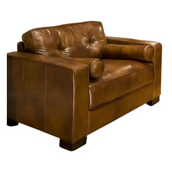 Elements Home Furnishing - Soho Top Grain Leather Standard Accent Chair - Shown in Rustic. Top Grain Leather. Track arm, Decorative bolster pillows. Back cushions are sewn in and not removable. Hardwood frame encased in  high density foam. Dark brown wood block feet. Dimensions: 45.5 in. D x 37.5 in. W x 32.5 in. H ( 94.6 lbs. )The Soho Standard Accent Chair features top grain leather shown in Rustic, with massive tufted back cushioning and deep seats for uncompromised seating pleasure.  The coordinating bolster pillows are a lovely emphasis and blend superbly with the framework represented in this creation.  The majestic sofa is accompanied by matching accent chairs (your choice of standard size or chair and a half) and a beautiful cocktail ottoman, all which are supported by dark brown wood block feet.  This collection's design truly represents the evolution of home furnishings from yester-years to today.