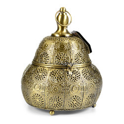 "Concepts Life - Concepts Life Candle Holder  Luminous Lace Lantern  Gold, Medium - Whether you are preparing for a special occasion or simply want to make a strong statement in your home, our Luminous Lace collection will instantly infuse elegance into your space. Our gold lanterns have ornate details on the surface and beautiful perforated patterns that will let the light from within add warmth and sparkle to any occasion. This magnificent pear shaped medium sized lantern comes with an interior glass cup to keep the flame governed. Scent and light eminate form the intricate carvings and are secured by the hand welded retractable top. Complete with a top loop for easy transport onto any surface or for simple hanging nearby. The electroplated finishing process garantees long lasting briliance to this strong, ornately crafted iron piece.  Hanging candle holder Welded from 100% iron Opens via clasp and hinge Includes glass cup for a votive or tealight candle Complete with hanging chain and S hook Beautifully hand-crafted; will have unique bends and asymmetries Dimensions: 7.5""w x 10""h x 7.5""d Weight: 1 lbs"