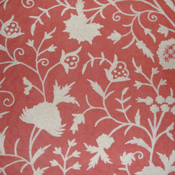 Crewel Fabric World by MDS - Crewel Fabric Tree of Life White on Bright Coral Linen- Yardage - Inspiration: Tree of Life is a pattern inspired by the flowers of kashmir.This Crewel Fabric representing the flowers in a garden is a delicate balance of real flowers and an artists imagination.