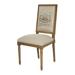 Zentique - Louis Side Chair - Natural/Reclaimed - A classic French-style linen and oak chair is the perfect addition to your dining room table. Choose from three elegant fabrics and reclaimed wood finishes and add them to your home for a vintage look. The elegant design highlights the best of old-world European craftsmanship.