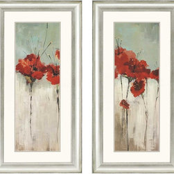 """Paragon Decor - Scarlett's Garden, Set of 2 Artwork - Brighten up those boring walls with this colorful pair, """"Scarlett's Garden."""" Each piece in this set of 2 features a large profile of a flower which contrasts passionate crimson and burnt sienna tones with subtle sea-glass greens and muted gray tones. Each piece is surrounded by a white matte and placed within a simple silver frame. Each piece in this set measures 23 inches wide, 2 inches deep, and 45 inches high."""