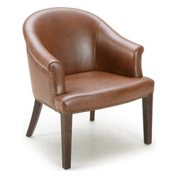 Sunpan - Augustine Armchair, Cognac Leather With Espresso Legs - This beautiful curved edge armchair features antique brass nail head detailing and a square brass ring on the back. Stocked in cognac, black and ivory bonded leather with espresso finished legs. No assembly required.