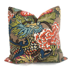 Pop O Color - Pair of Schumacher Chiang Mai Dragon Pillow Covers, Mocha, 22x22 - Add a Pop O Color to your decor with this pair of Chiang Mai Dragon pillow covers. If your room is in need of a statement piece this is it. This gorgeous heavy weight linen fabric has wonderful rich colors: reds, oranges, blues, greens and browns on an mocha brown background. It is one of Schumacher's new fabrics but its style will endure forever. Chiang Mai Dragon was originally derived from an exuberant 1920s Art Deco era block print. The pattern is table printed on a linen ground.