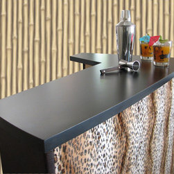 """The """"Laina"""" Bar - A standard bar we named """"Laina"""" because of it's wild side! This retro inspired boomerang bar takes it's shape from the 50's style. Accented with faux animal print and deep chocolate brown textured vinyl. The freestanding dry home bar sits atop hairpin legs, typical of mid century modern design. Perfect for Tiki and Rockabilly fans!"""