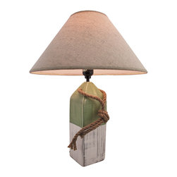 Zeckos - Green and White Nautical Buoy Table Lamp with Linen Shade - This buoy table lamp adds the finishing touch to any room with a nautical theme. It measures 18 inches tall, has a 3 1/2 inch X 3 1/2 inch wooden base, and comes with a 14 inch diameter linen shade. The lamp has a 5 foot black power cord with a thumbwheel on/off switch, and uses up to 40 watt (max) type `A` bulbs (not included). The lamp is hand painted, has a wonderful distressed finish, and is sure to be admired.