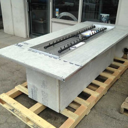 Custom Ready to Finish Fire Pit Frames - Ready to finish fire pit table with 350K BTU dual Crossfire linear burners.
