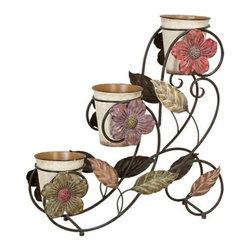 Benzara - Garden in Bloom Metal Planter Stand with 3 Planters - Garden in Bloom Metal Planter Stand with 3 Planters. With Daisy flower accent planter stand comes with 3 planters. Dimensions: 25 Inches Height x 24 Inches Wide.