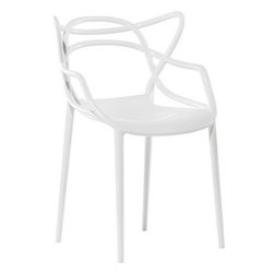 Ariel - Designer Modern Masters Dining Chair In White - Featuring unique criss-crossing lines that make up the back of the chair, the Designer Modern Masters Dining Chair represents the duality of nature by its fullness and empty spaces at the same time. Pair this with your current dining table or conference table to instantly enhance your indoor or outdoor living space. Available in white, black, or red.