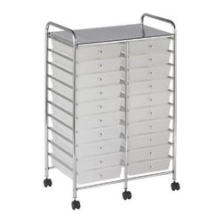 Ecr4kids - Ecr4Kids 20 - Drawer Double - Wide Mobile Organizer Multi-Purpose Rolling Cart - This practical organizer can hold just about everything from art and crafts projects to office supplies With its 20 drawers, its perfect for the classroom, home or office to consolidate multiple items into a single convenient location. Sturdy plastic drawers slide in and out easily and stay on track. Includes 6 casters (2 locking) for mobility. Style Notes Choose drawer color Assorted (AS), Smoke (SM), or White (WH). Colors may vary and are subject to change without notice.