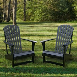 Buy More and SAVE! Midnight Black Adirondack Chair - You'll get special discounted prices when you purchase this chair in multiples! Relax all summer long in this sleek Midnight Black Adirondack Chair. The curved back wide armrests and contoured seat are classically comfortable made of sun-loving poplar hardwood sanded silky smooth. Generously coated in polyurethane-based paint the best-quality choice for outdoor wood furniture. Assembles easily in minutes with quality rust-resistant brass and stainless steel hardware all included. Designed to withstand the elements the durable finish cleans easily with a wipe of mild soap and water.