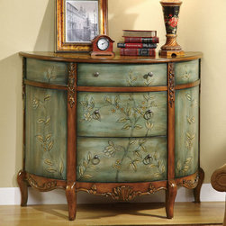 Coaster - 950115 Accent Cabinet - Finished in an antique teal, this three drawer accent cabinet is sure to add a touch of style to an entry way or living area. Along with its unique demi-lune shape, this cabinet features hand-painted floral accents.