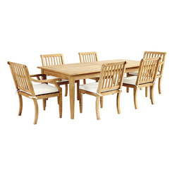 """Ballard Designs - Madison Teak 7-Piece Rectangular Dining Set - Includes 84"""" Classic Rectangular Teak Table, 4 Madison Side Chairs & 2 Madison Arm Chairs. Coordinates with our Madison Dining Collection & Madison Lounge Collection. Table holds standard umbrella with teak plug. Slats allow water to drain through. Include Basic Sand cushions. With its crisply tapered legs and gracious proportions, our Madison 7-Piece Dining has a timeless look designed to last. Part of our Madison collection, it's hand crafted of solid FSC-certified teak, making it naturally resistant to harsh weather and damaging insects. If left untreated, teak finish will mellow to a warm silvery gray over time. Madison Teak Dining Set features: . . . . . Assembly required. Replacement cushions available. Use of an outdoor furniture cover is recommended to extend the life of your piece."""