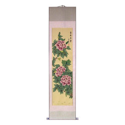 "Oriental-Décor - 68"" Purple Buds - This 68-inch tall Chinese scroll painting features beautiful purple and pink flowers on a yellow-beige background. Flowers are a classic and timeless subject of Chinese art that envoke feelings of joy and happiness. This artistic scroll will make a great decorative display on any wall in your home, office or business."