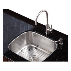 Kraus - 20 in. Single Bowl Kitchen Sink with Faucet and Soap Dispenser - Add an elegant touch to your kitchen with unique Kraus kitchen combo