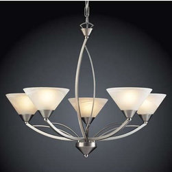 Elk Lighting - Elysburg Five-Light Chandelier - - Marbleized White Glass  Elk Lighting - 7637/5
