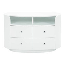 Global Furniture USA | Emily White Entertainment Unit - Add a contemporary and convenient spot for your TV, media components and collections with this Emily Entertainment Unit. The unit offers 4 drawers that are perfect for dvds or other things, 2 open compartments for media items, and sturdy top for your TV. The piece is made of composite wood and paper veneers in glossy white.