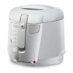 Delonghi - Deep Fryer with Adjustable Thermostat - Features: -Deep fryer. -Large 2.2 lbs food capacity, oil / 2 liters. -Viewing window. -Easy clean oil drain system. -2 replaceable filters. -Adjustable thermostat with indicator light. -Exterior lift handle. -Stay cool exterior. -Non-stick interior for quick cleanup. -Manufacturer provides 1 year warranty.