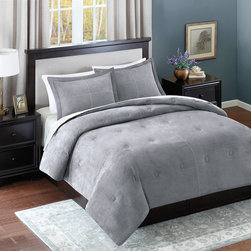 Avenue 8 - Avenue 8 Microsuede Comforter Mini Set - Add warmth and style to your current d̩cor with this solid Microsuede Comforter Mini Set. The comforter features a solid grey brushed microsuede fabric that has pick stitching details and a subtle circular tacking pattern to enhance this look. The sham(s) coordinate back to the comforter with the same pick stitch detail with a clean flange finish. Both reverses to a solid grey color made of soft microfiber fabric. 100% Polyester Micro suede