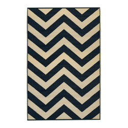 Fab Habitat - Laguna Rug, Sand & Black (6' x 9') - Chevrons are oh-so-chic, and this eco-stylish rug will display the graphic pattern in such an innovative way on your floor. Crafted using Fair Trade principles, this all-weather rug is a design statement you can feel good about. Its bold pattern is created using high quality recycled woven plastic straws, and comes in a variety of sophisticated colors and sizes.